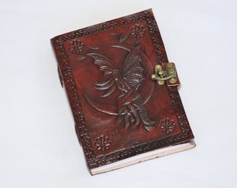 Handmade Fairy Tooled Leather Blank Journal, Diary, Sketch or Notebook Book