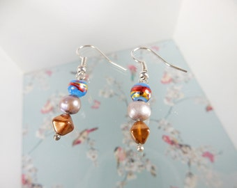 Dangle Earrings, Blue Beads, Brown Beads, Handmade Jewellery, Unique Earrings, Gift for Her