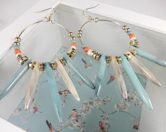Sky Blue Hoop Earrings, Statement Jewellery, Beaded Earrings, Gift for Her, Long Beads, Summer Earrings