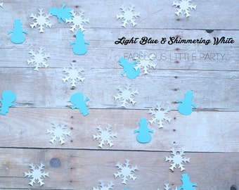 Snowman Snowflake Confetti, Christmas Confetti, Winter Baby shower, Winter Birthday Confetti, Christmas Party Decor Blue Frozen Confetti