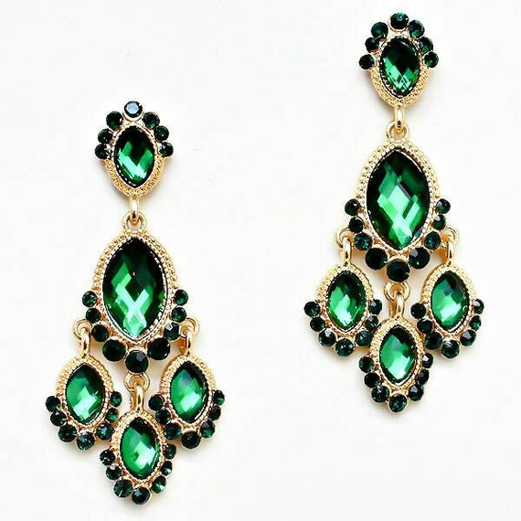 Green and Gold Vintage Chandelier Earrings Emerald by ...