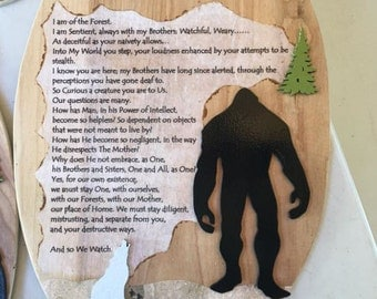 I Am Of The Forest 14x9 inch wood plaque Sasquatch Bigfoot