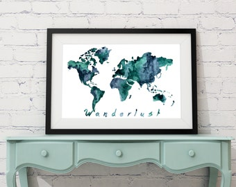 World Map wall art, watercolor world map, map painting