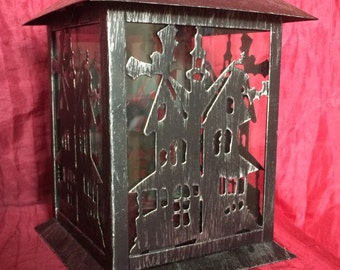 Haunted House Halloween Decoration Candle Lantern