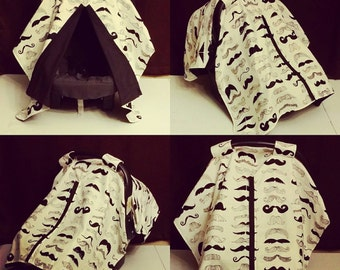 Mustache carseat canopy