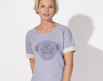 SWEAT SHIRT woman 100% Organic Cotton - Short sleeves rolled up - Beautiful Lilac heather