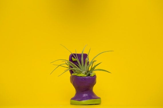 TOILET PLANTER / purpe - lime green