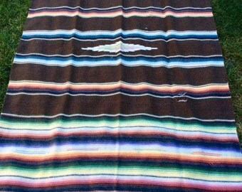 """Wicked vintage mexican blanket.80""""x44""""  small runs as pictured"""