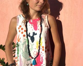 Tropical Cactus Garden Garden 100% organic cotton jersey ladies sleeveless top