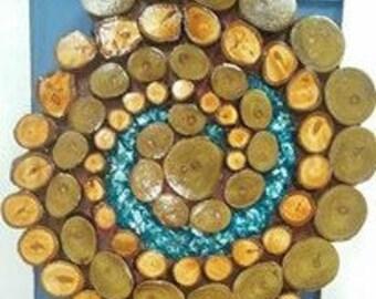 Spiral wood slice wall art