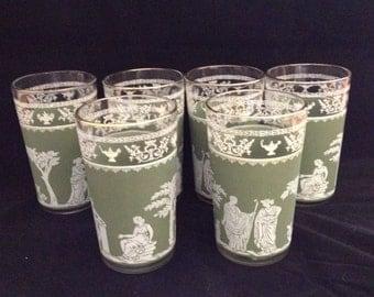 Green and White Bohemia / Greek Themed Juice Glasses set of six (6)
