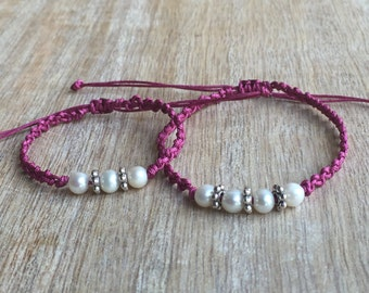 Mommy and Me bracelets, Mom and Daughter bracelets, Mommy and me Pearl bracelets, Dusty Pink Matching bracelets, Gift for Mom NM001390