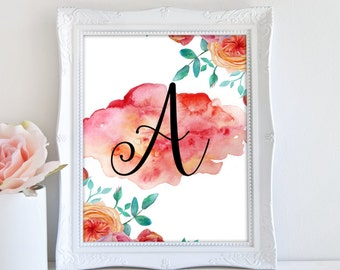 Personalized Letter Print, Nursery Letter Printable, Printable Art, Floral Monogram Print