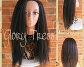 ON SALE // Kinky Straight Half Wig,   Natural Yaki Straight Wig, African American Wig // SECURE