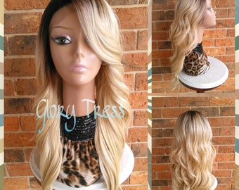 ON SALE // Long Wavy Lace Front Wig, Ombre Platinum Blonde Wig, Dark Rooted Bombshell Wig // SWEET (Free Shipping)