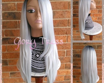 ON SALE // Long & Straight Ombre Lace Front Wig, Ombre Platinum Silver/Gray Wig // POWER (Free Shipping)