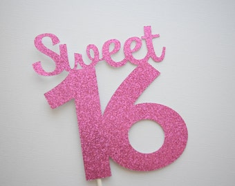 Sweet 16 Cake Topper, Birthday Cake Topper, Birthday Girl Cake Topper, Girl Birthday Cake Topper, Glitter Cake Topper