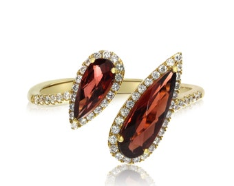 Pear-Shape Garnet and Diamond Halo Fashion Offset Ring 14k Yellow Gold - Gemstone Bypass Rings for Women - Anniversary Gifts for Her