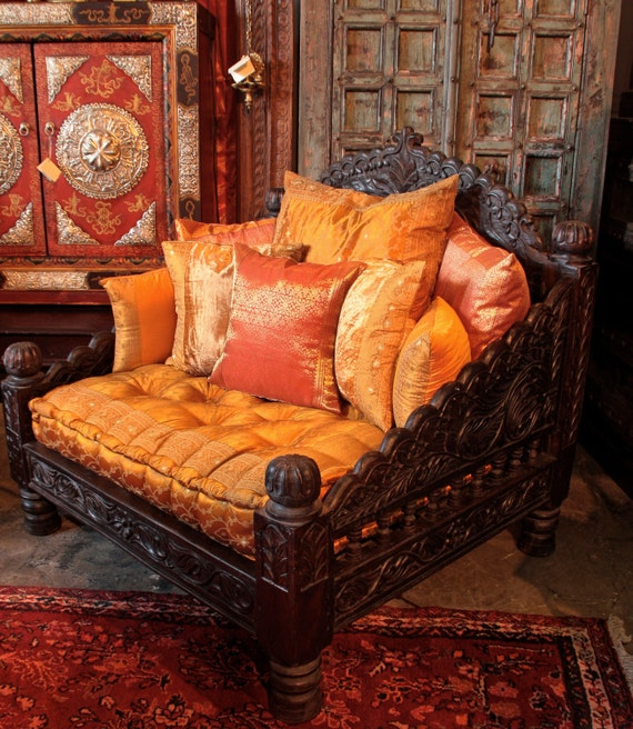 Sofa chair indian carved jhula single chair by taradesignla for Living room jhula