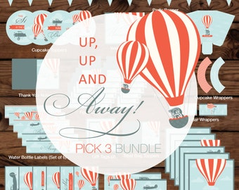 Up, Up and Away Pick 3 Bundle, Up, Up and Away Birthday Party Pack, Up Birthday Bundle, Hot Air Balloon Birthday Bundle