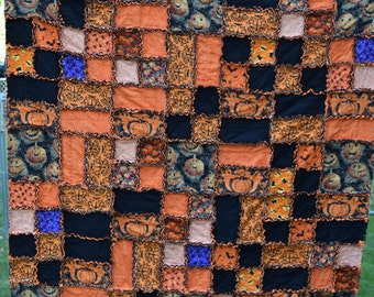 Scrappy Patchwork Halloween Rag Quilt 62X62 Pumpkin Bats Cats Ghosts Orange Black