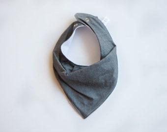 Bandana Bib -  Grey Denim Look Cotton - Gender Neutral