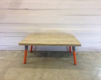 Reclaimed Wood Industrial Coffee Table. Orange Legs