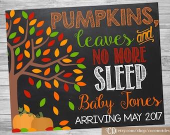 Fall Pregnancy Announcement / Printable Chalkboard / Pumpkin Pregnancy Announcement Sign / Little Pumpkin