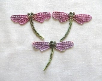 Dragonfly Applique Hand-dyed Venise Lace 6021D