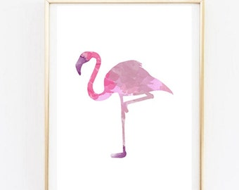 Pink Watercolor Flamingo Poster / Printable Poster 50X70