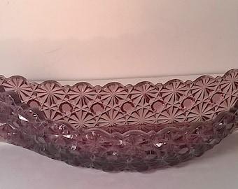Vintage Purple Fenton Daisy Design Glass Canoe Wall Pocket