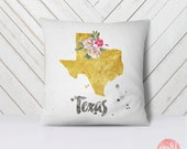 US State Texas Map Outline Floral Design - Throw Pillow Case, Pillow Cover, Home Decor - TPC1153