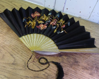 Antique silk embroidered fan