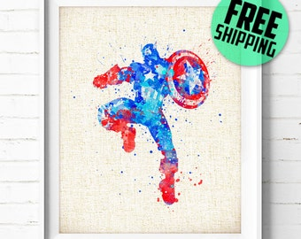Captain America, Avengers, Marvel, Superhero, Poster, Watercolor Painting, Kids Wall Art, Home Decor, Nursery Decor, Holiday Gift, 49