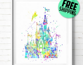 Disney Cinderella's Castle print, Disney Castle print, Castle watercolor art, Disney Castle poster, Disneyland, Disney print [72] home decor