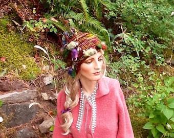Hand knit wool hat, women's hand knit hat, grape vine hat, vineyards hat, hand spun art yarn, unique hat, wool hat, art yarn hat, wibter cap