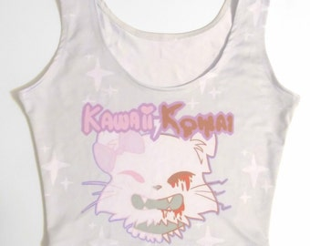 Kawaii Kowai Cat All-Over Print Crop Top
