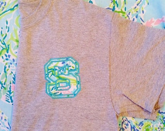 Lilly Pulitzer NCSU NC State North Carolina State University T-shirt with your choice of Lilly fabric and thread! So cute for college girls!