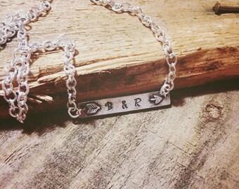 Custom Arrow Bar Metal Stamped Necklace