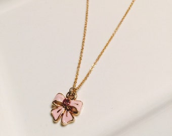 Pink bow gold necklace