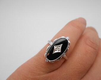 Gorgeous Vintage 14k Solid White Gold Onyx & Diamond Deco Ring Size 6.5