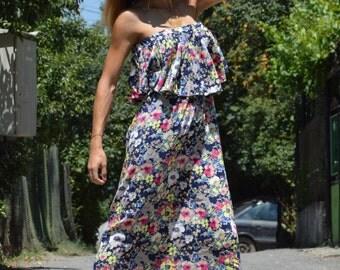Maxi Dress, Summer Party Dress, Viscose Dress, Long Flounces Dress, Plus Size Dress, Loose Ruffle Dress by SSDfashion