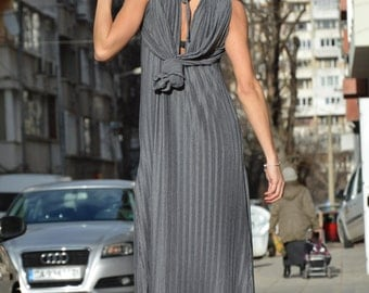 Women's Maxi Dress, Oversized Grey Dress, Solei Kaftan Dress, Plus Size Extravagant Dress By SSDfashion
