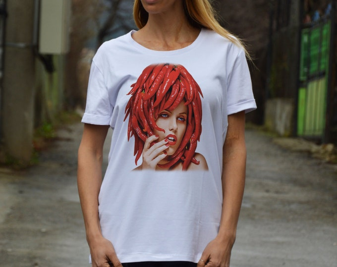 Extravagant Hot Pepper Print T-shirt, White Cotton Maxi Tshirt, Plus Size Clothing, Handmade Oversize Top By SSDfashion