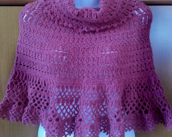 Wool poncho red brick