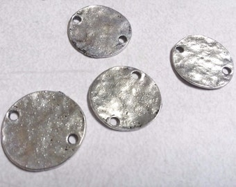 Metal Stamping Blank Connectors Antiqued Silver 20mm Circle Blanks Metal Stamping 10 pieces