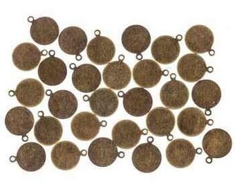 Metal Stamping Blank Tags Circle Blanks Antiqued Brass Bronze Blank BULK Blanks 10mm 30pcs