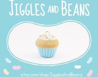 Cupcake charm, miniature food, food jewellery, polymer clay cupcake, cute cupcake