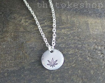 Cannabis Leaf Hand Stamped Minimalist, Cannabis Activist Necklace by The Toke Shop