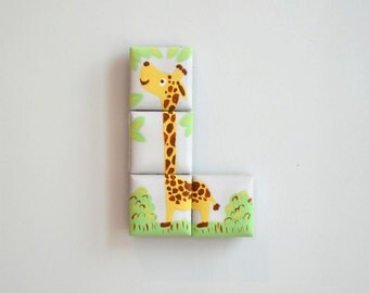 Hand painted Giraffe puzzle tile magnets